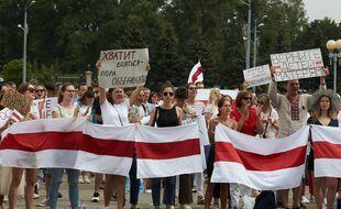 Une manifestation à Minsk (Biélorussie), le 18 août 2020.