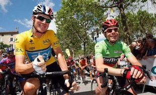 Bradley Wiggins (à gauche) et Cadel Evans lors du dernier Critérium du Dauphiné, à Lamastre, le 5 juin 2012.