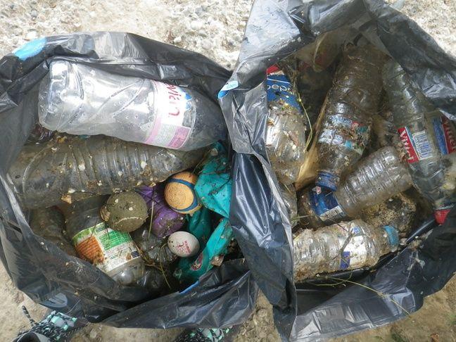 Les déchets flottants récupérées dans la Garonne par le système mis au point par l'association Plastic Vortex.