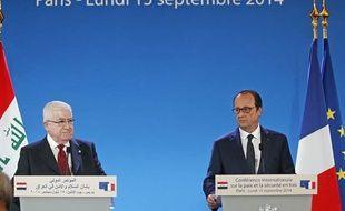 Le président français François Hollande et le président irakien Fuad Masum, le 15 septembre 2014 à Paris, à la conférence internationale sur la sécurité en Irak