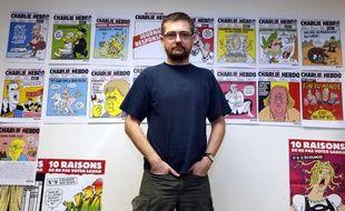 Charb, directeur de la publication de Charlie Hebdo, le 27 décembre 2012, à Paris.