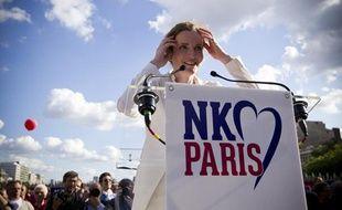 Le 30 juin 2013. Nathalie Kosciusko-Morizet (UMP) donne un meeting place de la Bastille en vue des élections municipales de Paris.