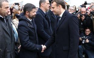 Le député Jean-Felix Acquaviva et Emmanuel Macron le 6 février 2018.