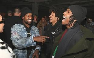 Les rappeurs Kanye West et ASAP Rocky à la Fashion Week de New York