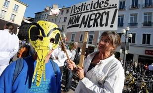Des manifestants contre le pesticide Cruiser touchant les abeilles, le 15 octobre 2011 à Grenoble