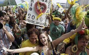 Les habitants de Rio de janeiro célèbrent l'obtention des Jeux olympiques 2016, le 2 octobre 2009