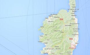 Carte situant Ghisonaccia, en Haute-Corse.