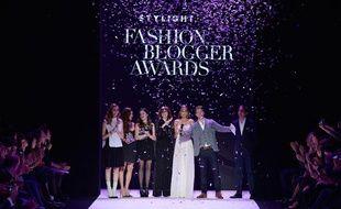 Chiara Ferragni, Negin Mirsalehi, Aida Domenech, Louise Ebel, Fadela Mercheri, Raul Richter et Benjamin Guenther au Stylight Fashion Blogger Awards à Berlin le 13 janvier 2014.