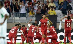 La sélection tahitienne fête son but contre le Nigéria le 17 juin 2013 en Coupe des confédérations.