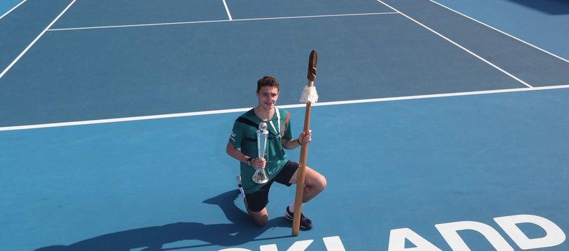 Le Français Ugo Humbert, vainqueur du tournoi d'Auckland le 18 janvier 2020.