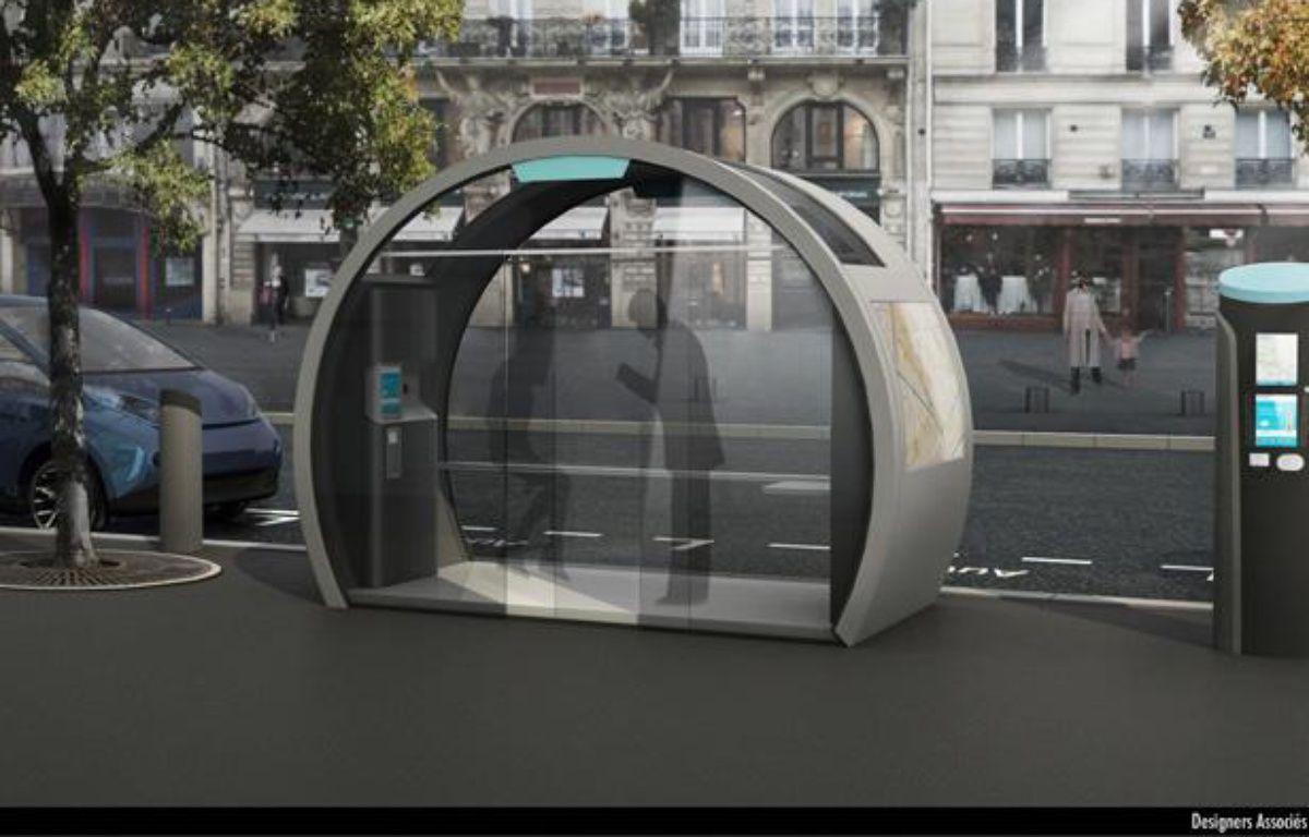 Un modèle de station Autolib', équipée d'un kiosque d'information – DR