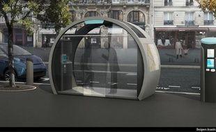 Un modèle de station Autolib', équipée d'un kiosque d'information