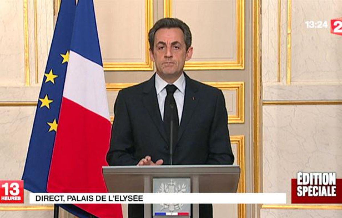 Nicolas Sarkozy lors de son allocution télévisée après le dénouement de l'affaire de Toulouse. – FRANCE 2/SIPA
