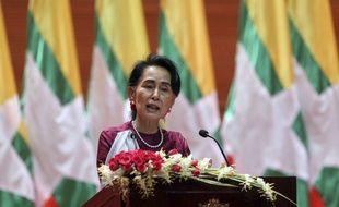 Aung San Suu Kyi, la dirigeante birmane, lors de son discours retransmis à la télévision le 19 septembre 2017.
