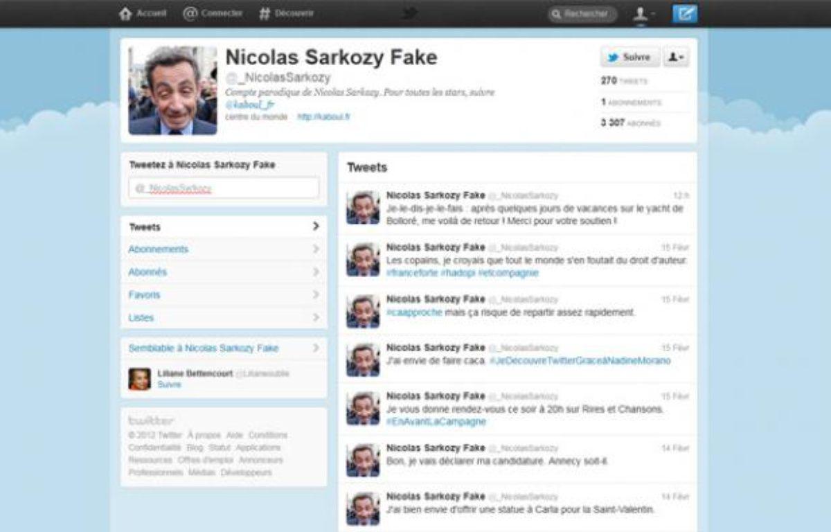 Le compte Twitter parodique «Nicolas Sarkozy Fake», @_NicolasSarkozy. – CAPTURE D'ECRAN/20MINUTES.FR