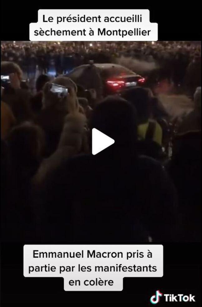 Vidéo TikTok censée montrer la voiture d'Emmanuel Macron pris à partie par des manifestants à Montpellier