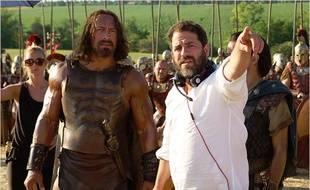 Dwayne Johnson et Brett Ratner sur le tournage d'Hercule