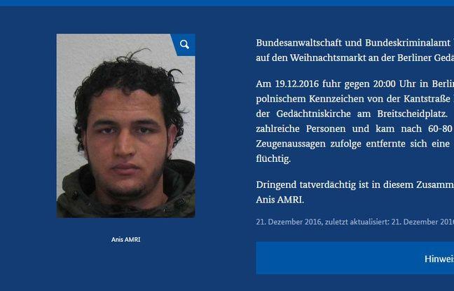 Avis de recherche de Anis Amri publié par la police allemande, le 21 décembre 2016.