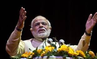 (FILES) In this photograph taken on February 27, 2014, Bharatiya Janata Party (BJP) prime Le dirigeant nationaliste hindou, Narendra Modi le 27 février 2014 à New Delhi