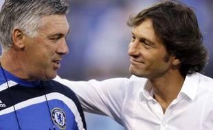 Carlo Ancelotti (à gauche) et Leonardo, lors d'un macth amical à Baltimore entre le Milan AC et Chelsea, le 24 juillet 2009.