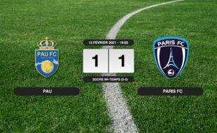 Ligue 2, 25ème journée: Pau et le Paris FC font match nul 1-1