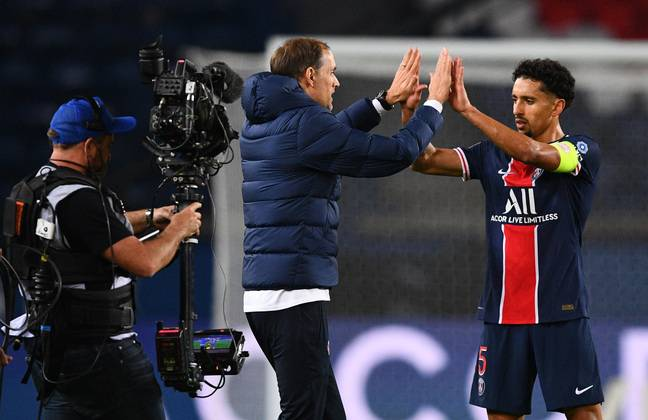 Marquinhos et Tuchel après la victoire du PSG contre Rennes, le 7 novembre 2020.