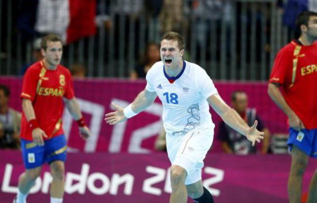 L'arrière de l'équipe de France de handball, William Accambray, auteur du but de la victoire contre l'Espagne en quart de finale des Jeux olympiques de Londres, le 8 août 2012.