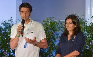 Tony Estanguet, le co-président du comité de candidature Paris 2024, et la maire de Paris Anne Hidalgo, lors de la visite du CIO le 15 mai 2017.