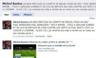 Le profil Facebook du joueur lyonnais Michel Bastos piraté par les supporters lyonnais.