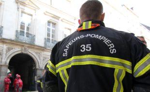 Illustration de pompiers, ici lors d'une intervention à Rennes.