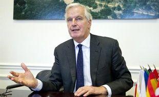 Michel Barnier, Commissaire européen au Marché interieur et aux Services le 29 janvier 2013 dans son bureau parisien.