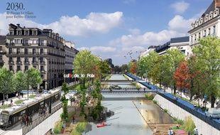 Vue d'architecte de la place de la République en 2030 produite pour l'association Rayons d'Action.