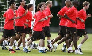 Le joueurs du FC Barcelone le 21 juillet 2008, lors d'un entraînement à Saint-Andrews, en Ecosse.