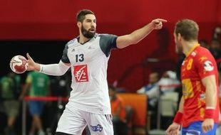 Le Français Nikola Karabatic lors de la demi-finale entre la France et l'Espagne au Mondial de handball à Doha, le 30 janvier 2015