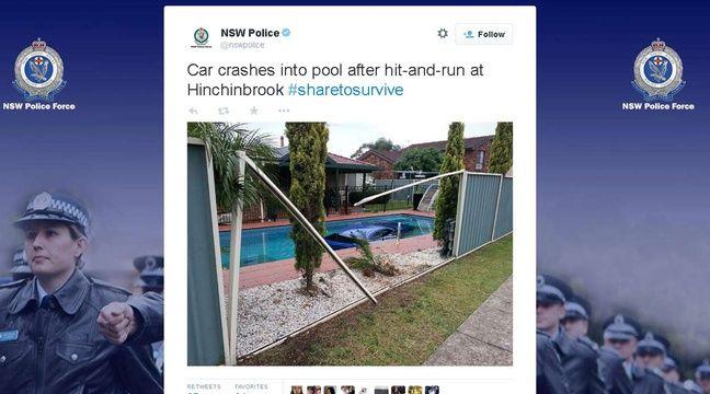 australie apr s un accrochage la voiture finit au fond d 39 une piscine. Black Bedroom Furniture Sets. Home Design Ideas