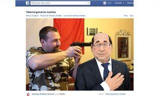 Un photomontage publié par un candidat du FN sur sa page Facebook le montre avec un pistolet sur la tempe d'une marionnette de François Hollande.