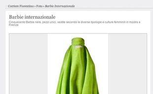 Capture d'écran du site Corriere Fiorentino montrant une poupée Barbie portant une burqa.