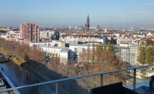 Vue aérienne de Strasbourg, depuis la presqu'île Malraux