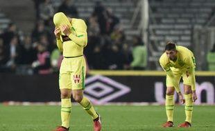 Le désarroi nantais à la fin de la déroute face à Lyon (0-6).
