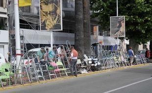 La préparation du 67e festival de Cannes, le 11 mai 2014