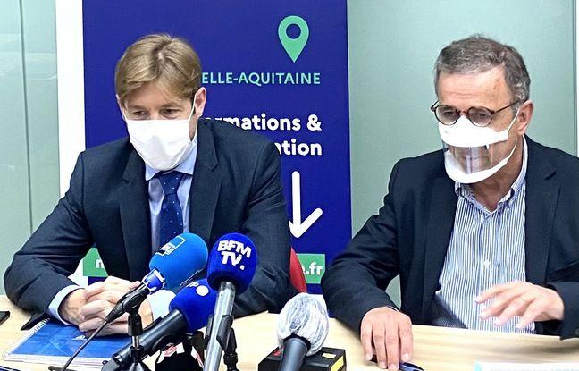 Benoit Elleboode, directeur de l'ARS Nouvelle-Aquitaine (à gauche) et Pierre Hurmic, maire de Bordeaux