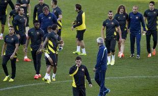 L'Argentin du FC Barcelone Lionel Messi lors d'un entraînement au stade Vicente-Calderon, le 8 avril 2014.