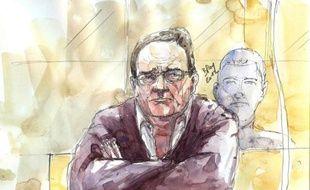 Dessin de Bruno Cholet, accusé de meurtre d'une jeune étudiante suédoise