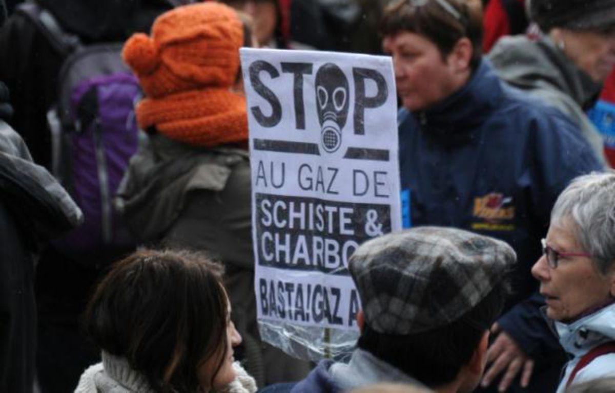 Des personnes manifestent contre l'exploitation du gaz de schiste à Barjac dans le sud de la France le 28 février 2016 – SYLVAIN THOMAS AFP