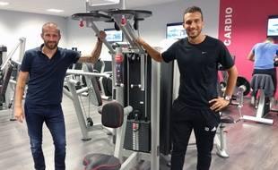 Strasbourg, le 4 septembre 2016: L'ancien attaquant du Racing David Ledy (à gauche) et son associé Sofien El Keurti ouvre une salle de sport à Eckbolsheim.