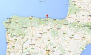 Carte situant la ville de Santander, en Espagne.