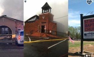 Les trois églises incendiées aux Etats-Unis début 2019.