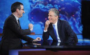 L'humoriste John Stewart (à droite) dans son ultime «Daily Show», le 6 août 2015.