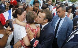 Emmanuel Macron en visite à Goyave en Guadeloupe, le 28 septembre 2018.