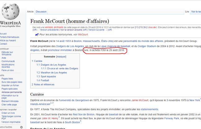 Capture d'écran d'une des modifications publiée puis retirée sur la page Wikipédia de Frank McCourt